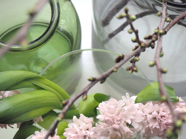 Hieman jo pääsiäistä – hyasintin ja kirsikankukan kanssa